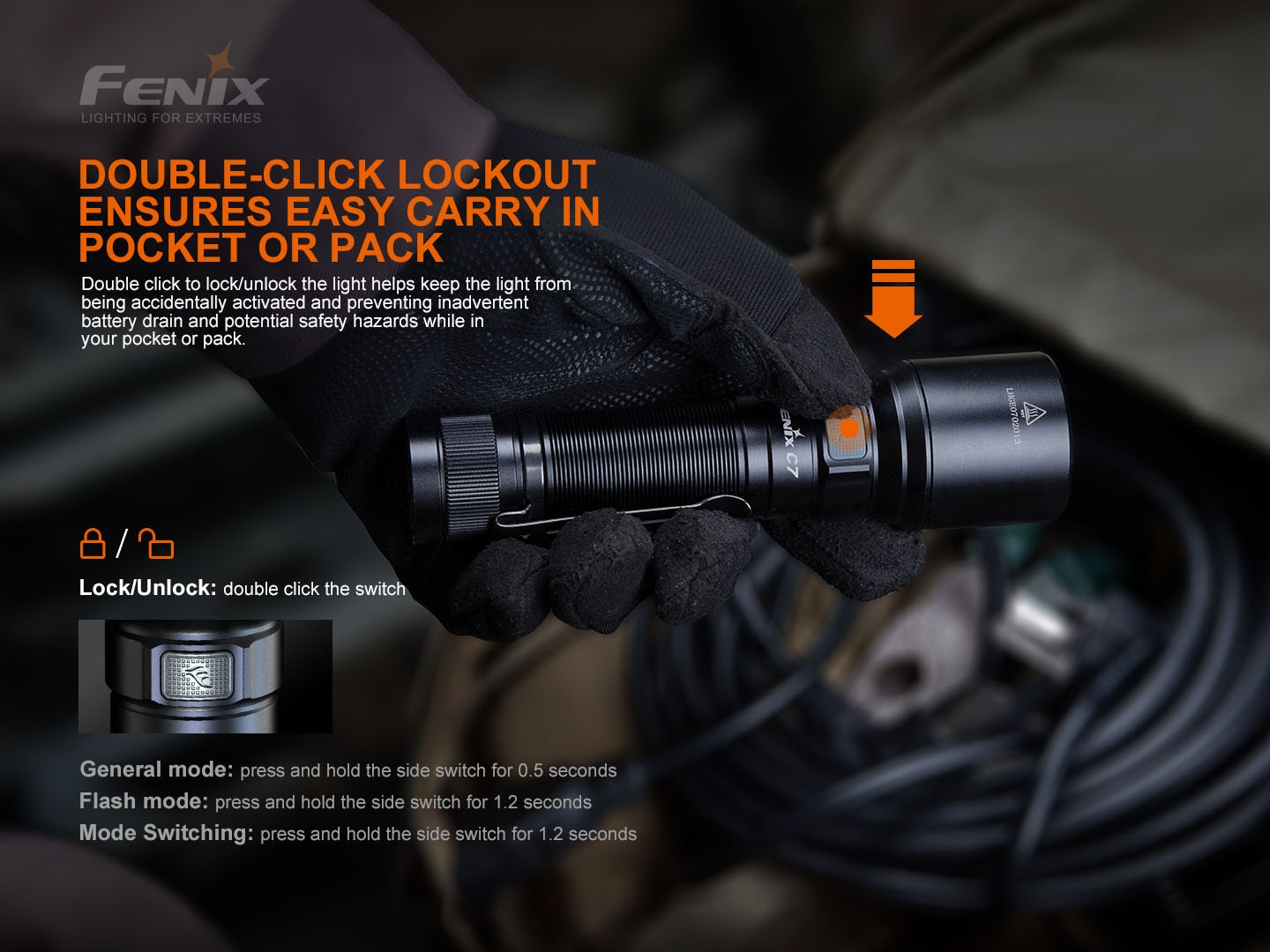 Fenix C7 LED Torchlight, 3000 Lumens Powerful Compact Rechargeable Light, Best Work EDC Outdoors Torch