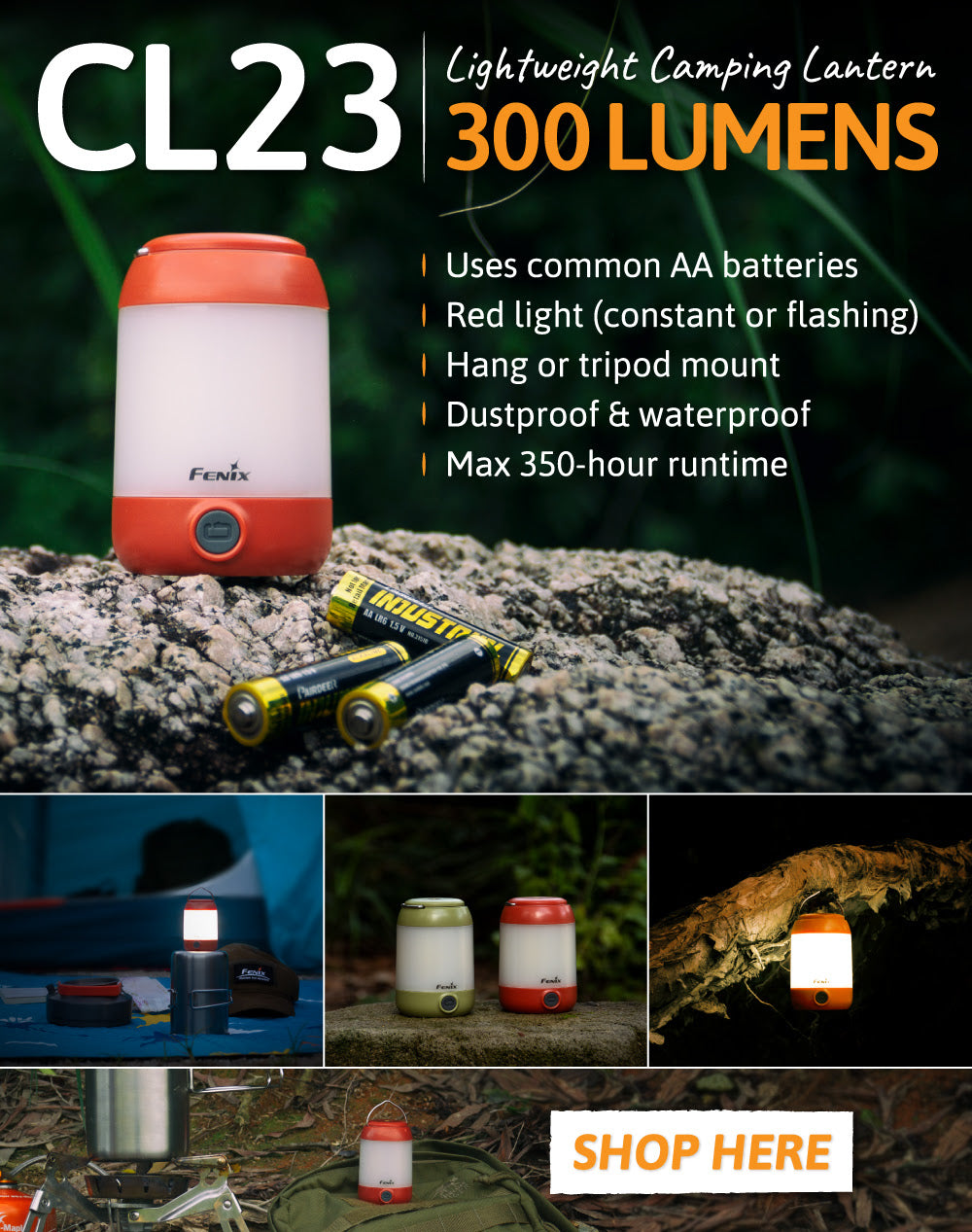 Fenix CL23 LED Camping Lantern, Powered by AA Batteries, Highly Portable, durable and compact camping hiking trek LED Light