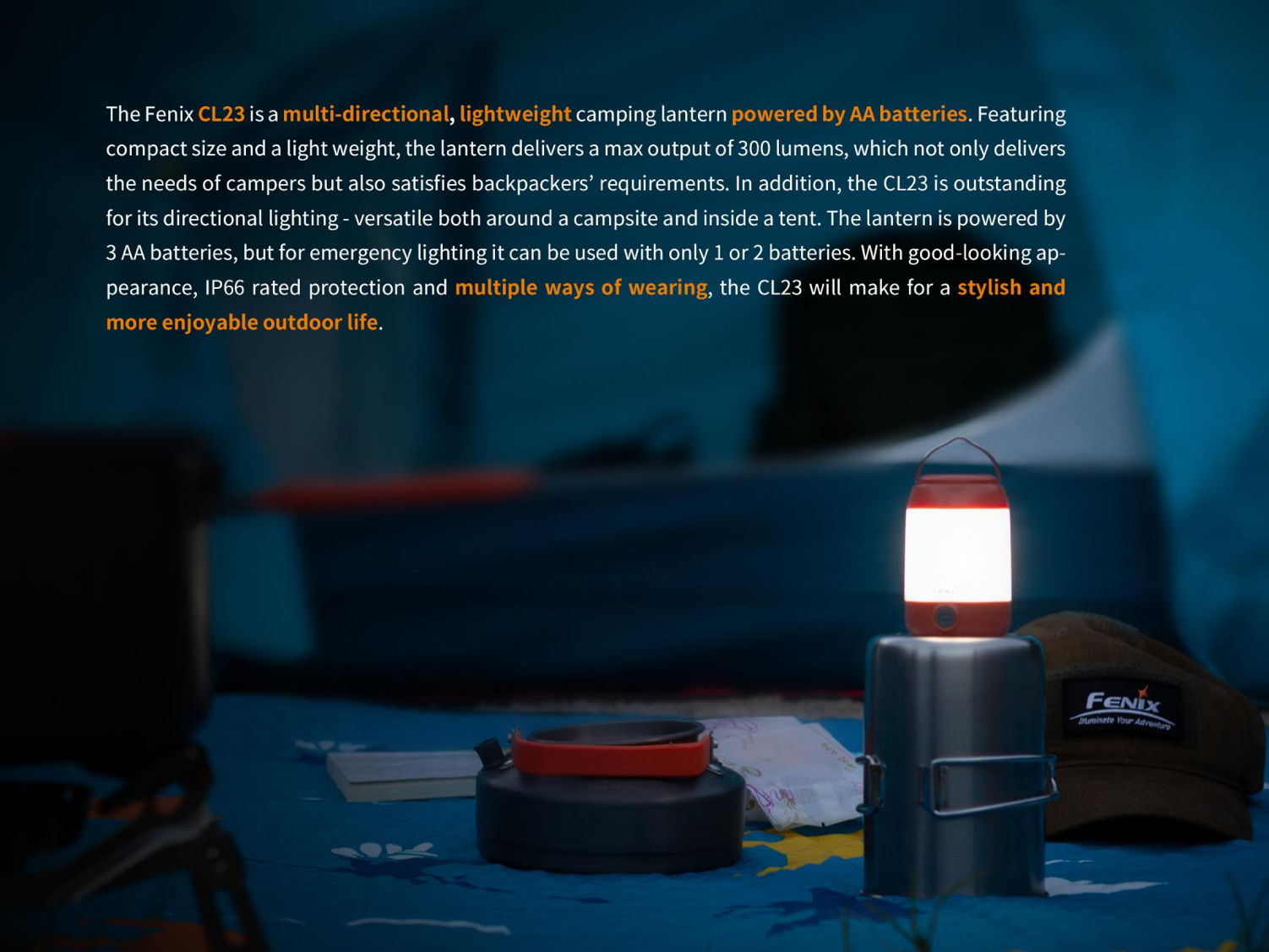Fenix CL23 LED Camping Lantern in India, Camping Site Light for Adventures, Trails and Hiking, Emergency Light, Highly Portable Lightweight LED Light