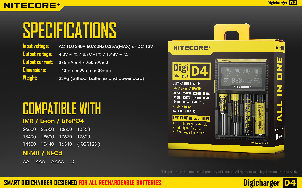 Nitecore D4 Charger, Rechargeable Battery charger, 4 slot battery charger, Lithium ion rechargeable battery charger with display