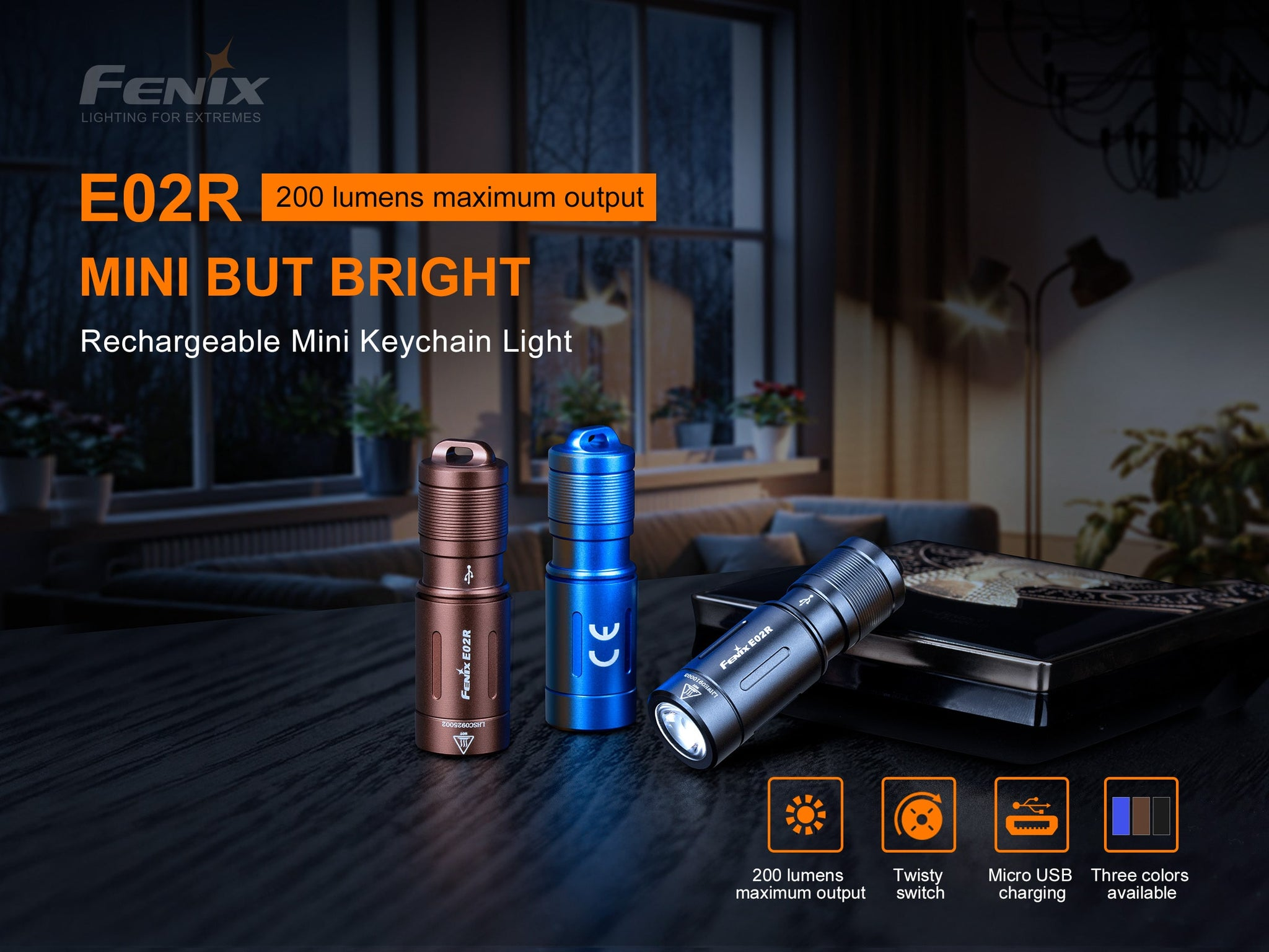Fenix E02R LED Keychain Light, Compact Mini Keychain Torch, 200 Lumens EDC Rechargeable Small Torch, Thumb Size Powerful Torch Light for Outdoors