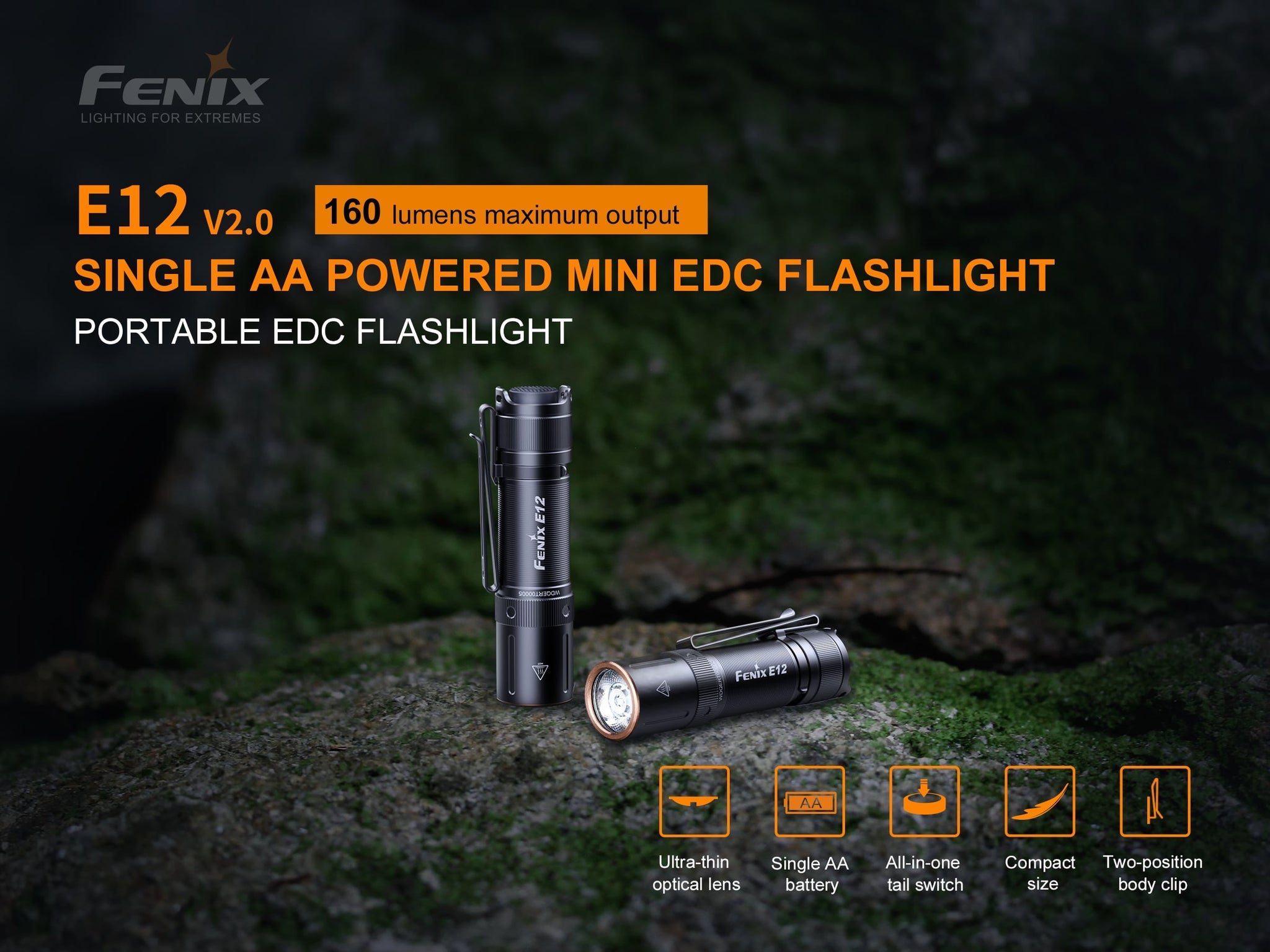 Fenix E12 V2 LED Torch Light, Compact Powerful Torch, AA Battery KeyChain Everyday Carry Flashlight, Best torch in India