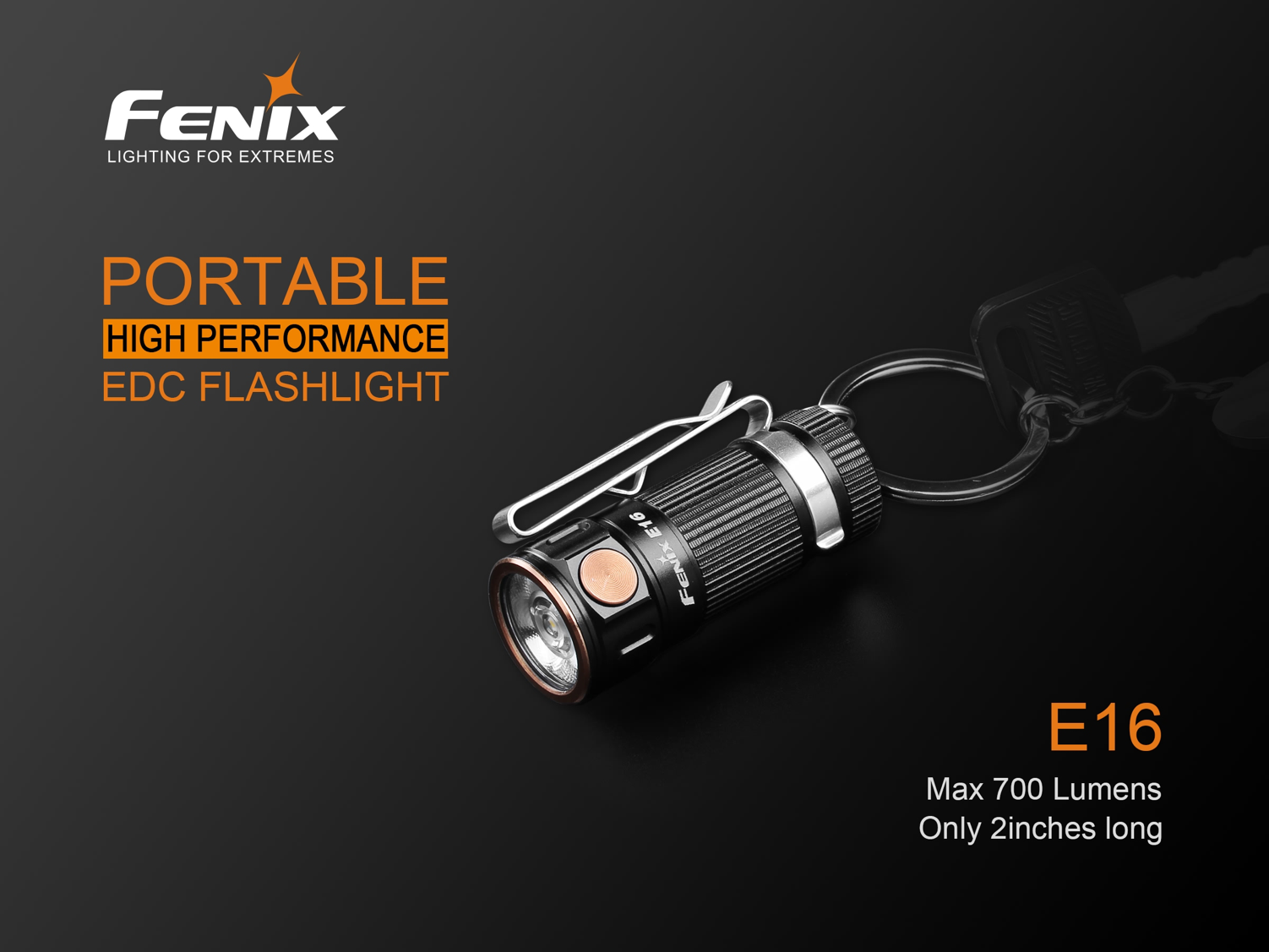 Fenix E16 LED Flashlight in India, Everyday Carry Torch, Compact, Lightweight yet Powerful Torch, 700 Lumens Neutral White Led, Hand Held Pocket Size Flashlight, Keychain Light
