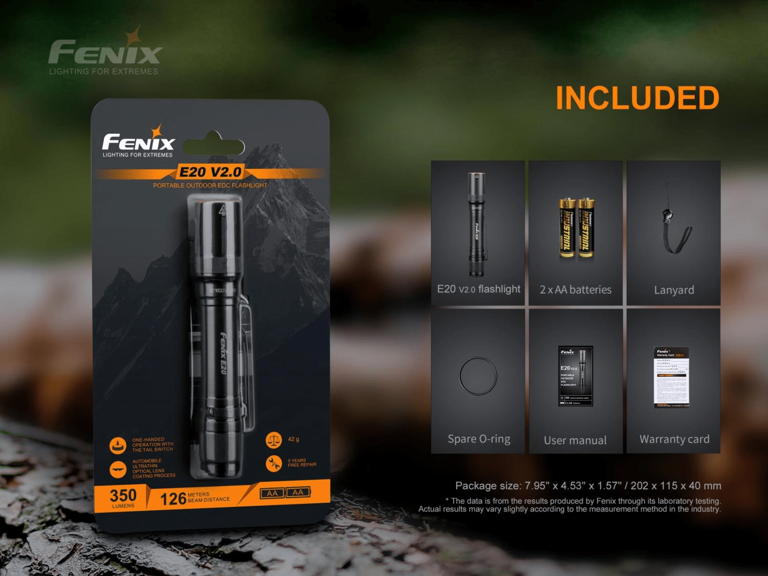 Fenix E20 V2, Fenix E20 LED Torch Light, AA Battery Torch, EDC Light for work, Compact Pen Size Torch in India, Lightweight Torch