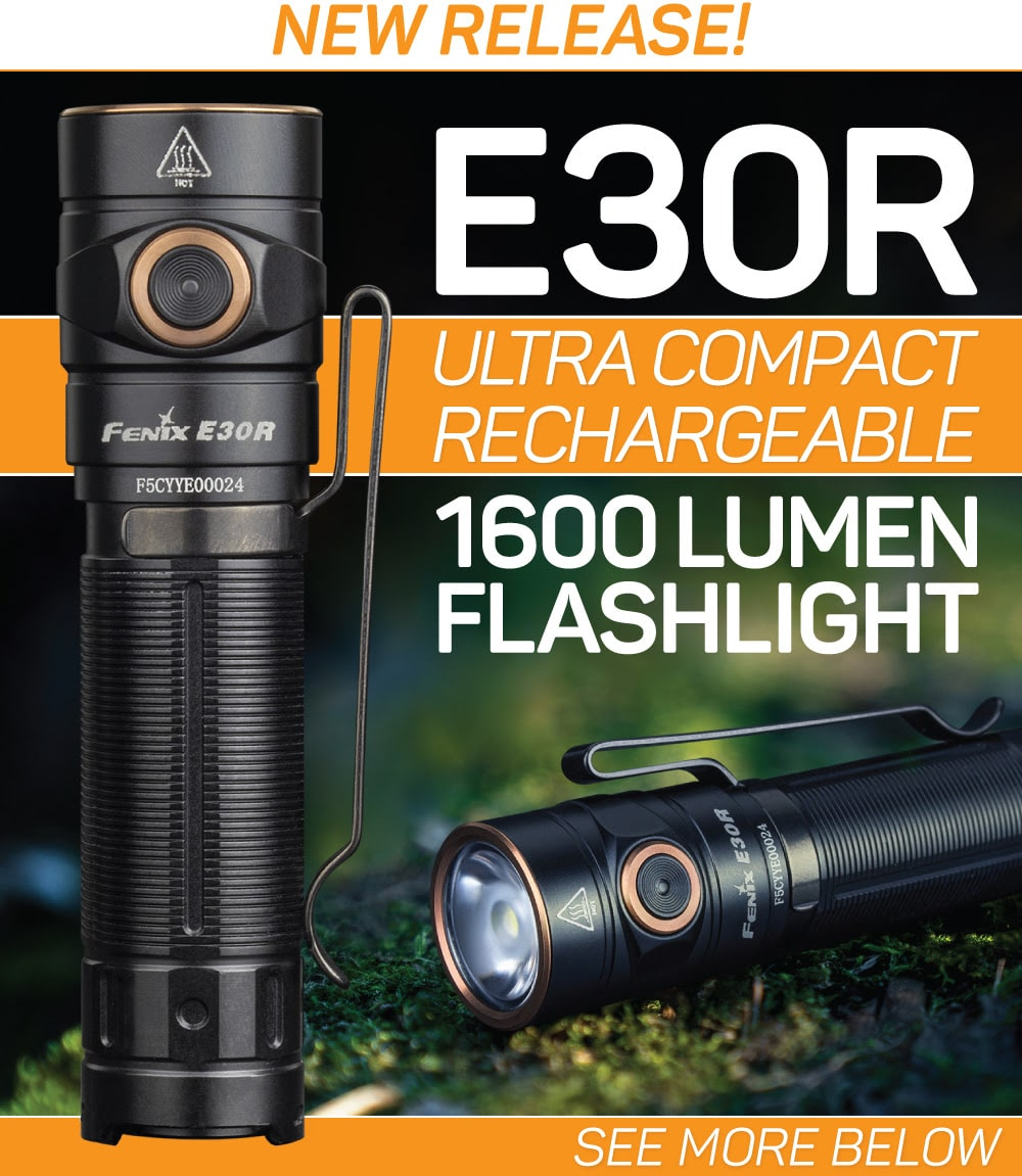 Fenix E30R Rechargeable LED Flashlight, E30R powerful new torch with 1600 Lumens, pocket size EDC Work Light
