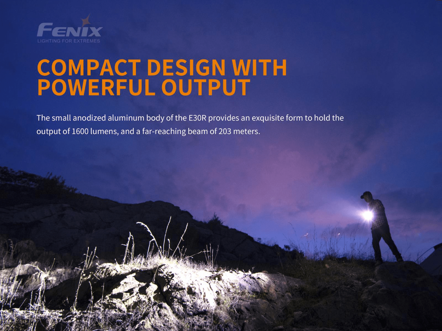 Fenix E30R Rechargeable LED Flashlight in India, 1600 Lumens extremely powerful Everyday carry and outdoor compact Torch