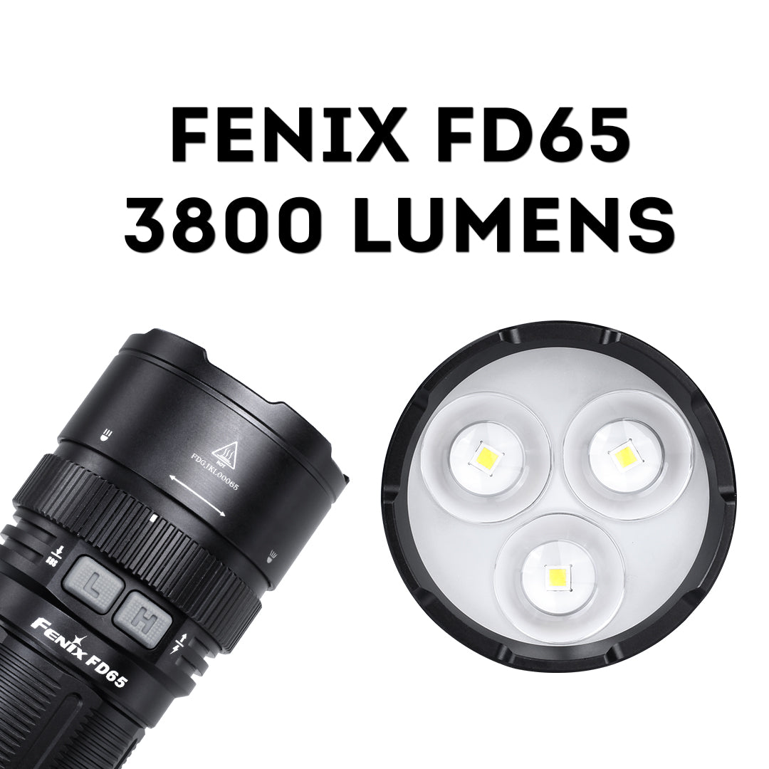 Fenix FD65 LED Focusable LED Flashlight, Focus Adjust Zoomable Searchlight, Powerful 3800 Lumens Torch, High Performance