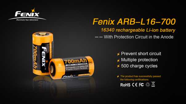 Fenix 16340 Lithium Ion Rechargeable Battery, Rechargeable CR123A Battery, Fenix ARB-L16-700 Li-ion Battery, 3.7v Protected Battery, BIS Approved Lithium Ion Battery