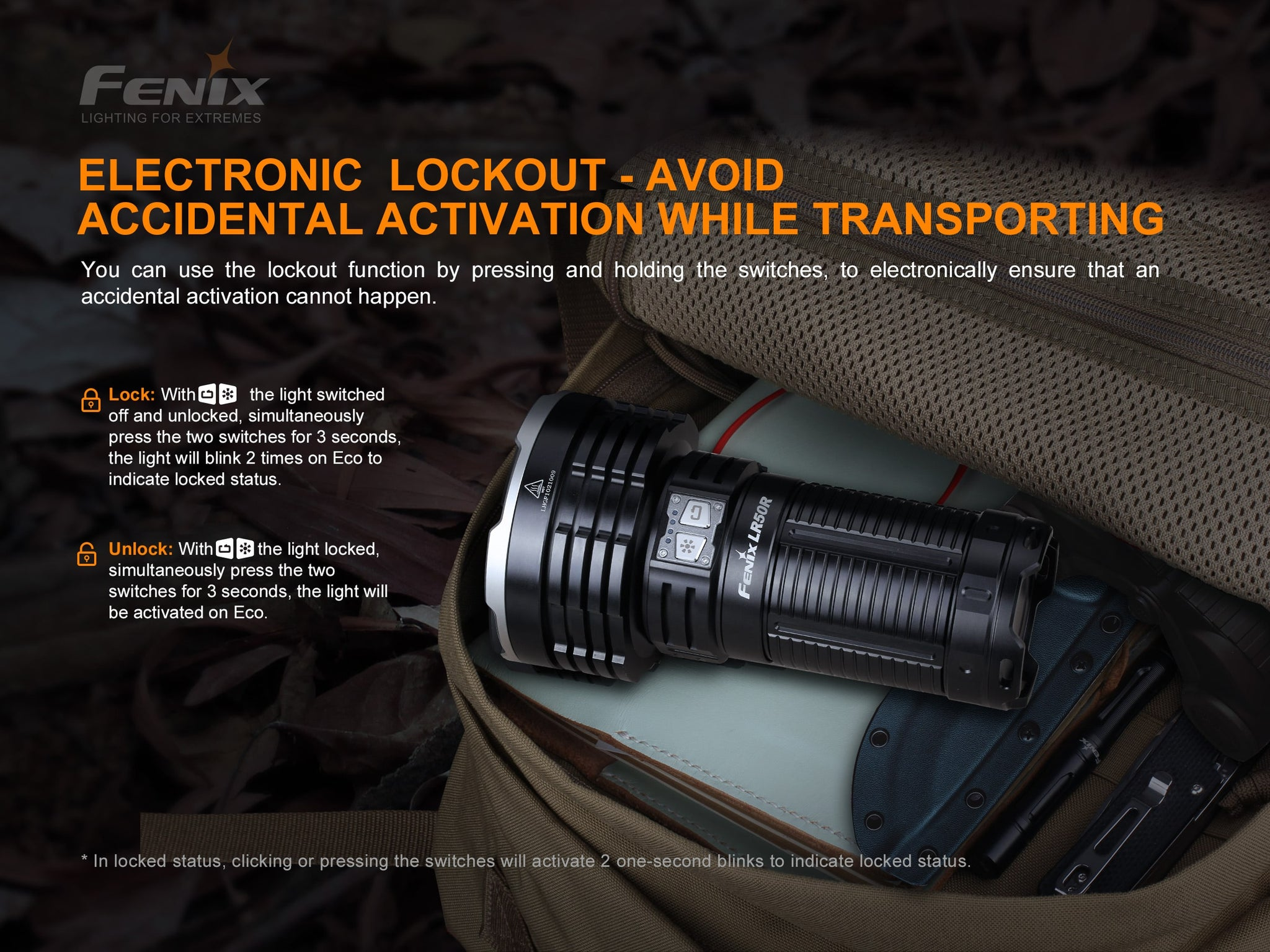 Fenix LR50R Extremely powerful bright light for search, rescue, outdoors, law enforcement, camping, jungle trek and photography