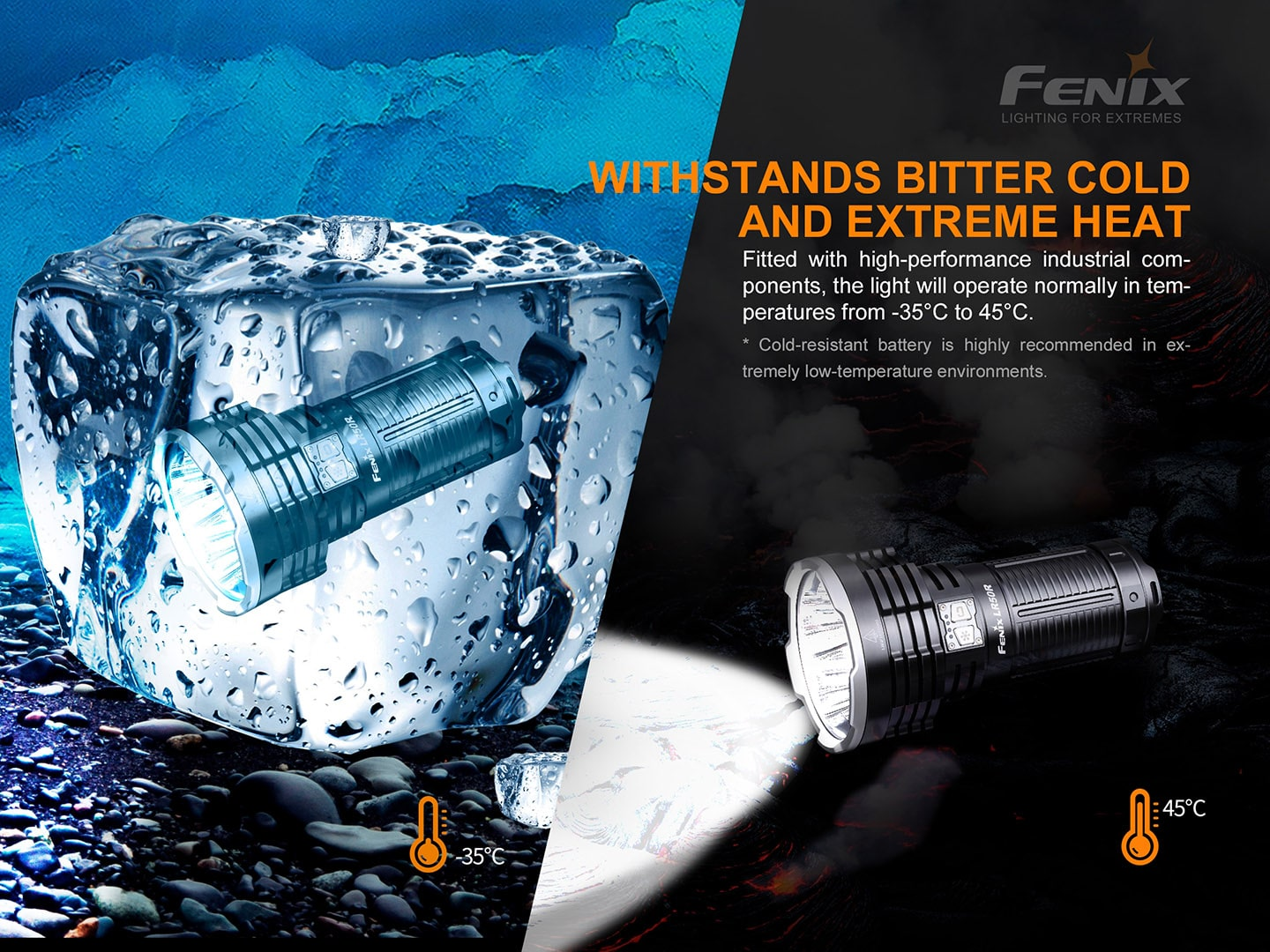 Buy Fenix LR50R in India high performance rechargeable Searchlight, 12000 Lumens super bright torch