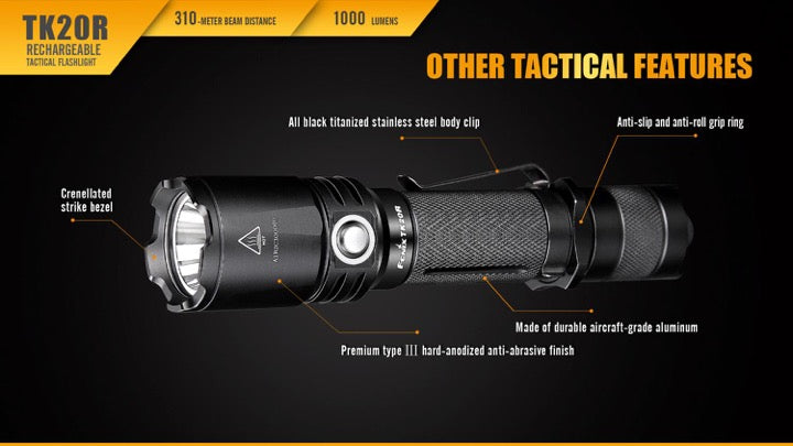 Buy Fenix TK20R USB Rechargeable LED Flashlight online in India, Buy Fenix TK20R LED torch in India on www.ledflashlights.in