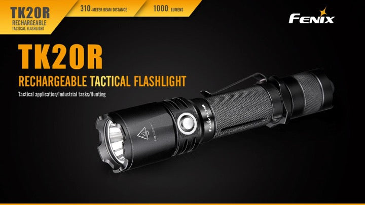 Fenix TK20R Rechargeable LED Flashlight in India, USB Rechargeable Tactical Torchlight, 1000 Lumens High Performance Flashlight in India, EDC Work Light