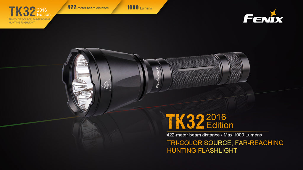 Fenix TK32 LED Flashlight in India, 1000 Lumens Powerful Light, Long range outdoor tactical torch in India, High performance Tri Color Light with Red, Green and white LEDs