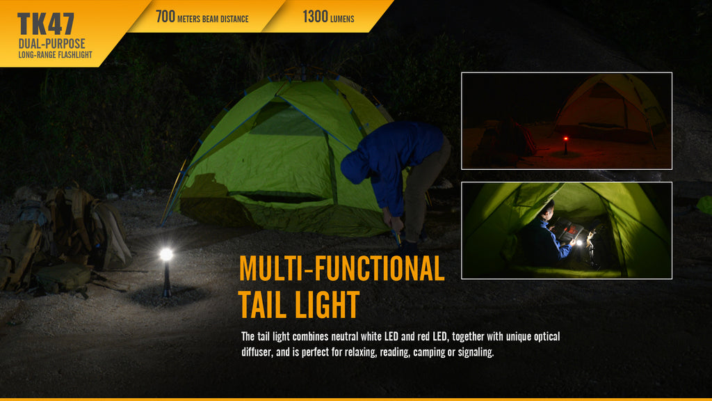 FENIX TK47 LED Flashlight (1*18650 OR 2*CR123A) LED Spotlight, Multi-Purpose Tail Light LED Torch With long range in India