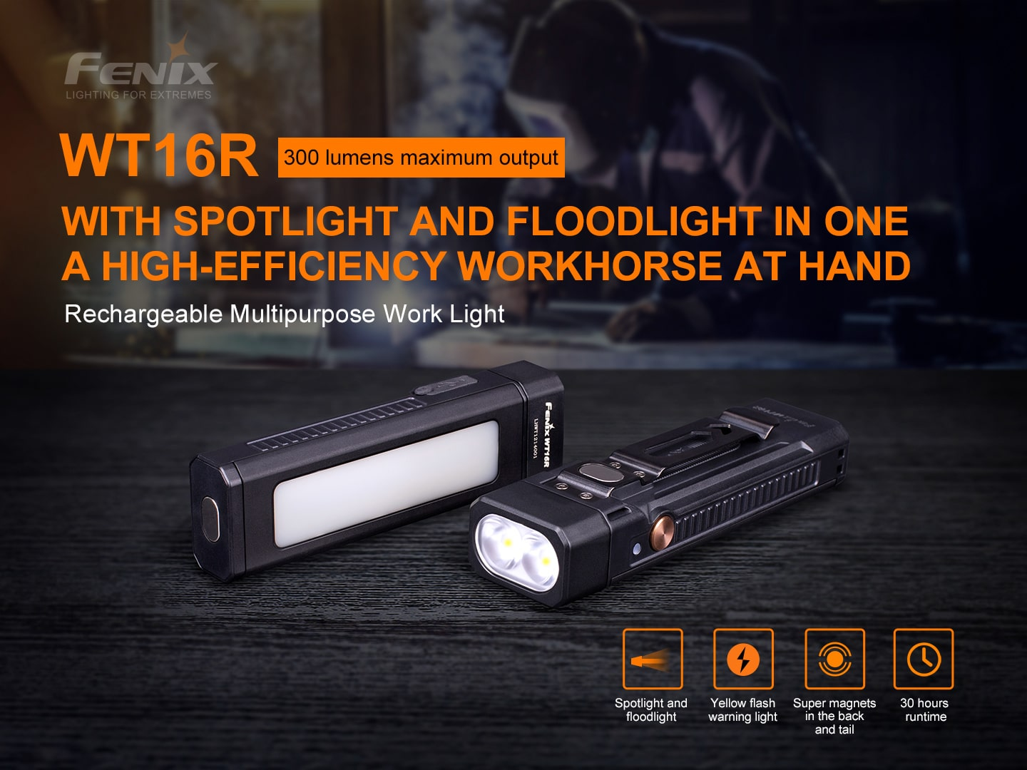 Fenix WT16R Rechargeable LED Torch Light in India, Perfect Outdoor Work Light, 300 Lumens Spot light and Flood Light Torch, White & Yellow LED Light Torch