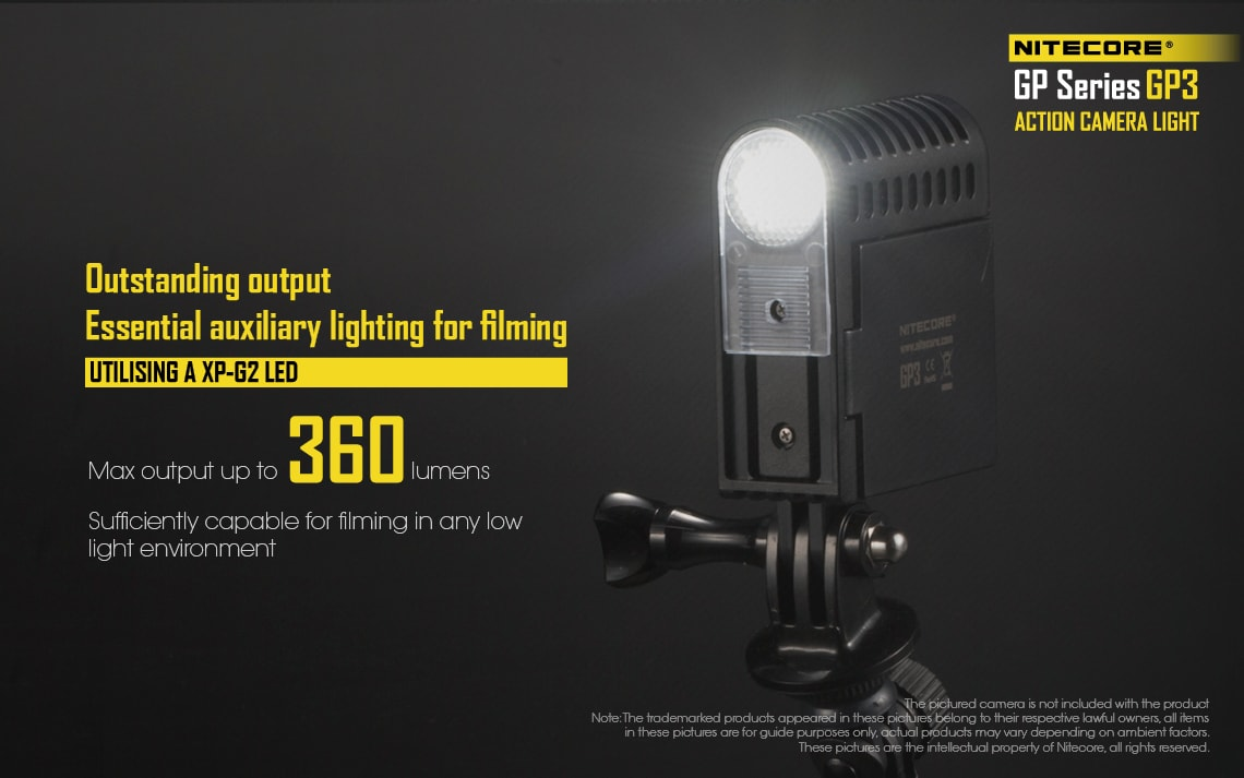Nitecore Gp3 LED Flashlight, Nitecore action camera light, USB Rechargeable Light, Mountable light to go pro cameras, 360 Lumens light, Light for Camera Video shooting