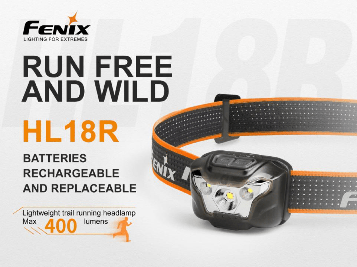 Fenix HL18R USB Rechargeable LED Headlamp in India, 400 Lumens Compact Light weight and versatile headlamp for outdoors