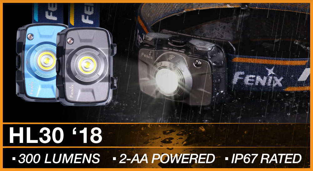 Fenix HL30 LED Headlamp, Fenix HL30 2018 Edition, 300 Lumens Head Torch, AA Battery Outdoor Headlamp, Lightweight and Compact Head Torch