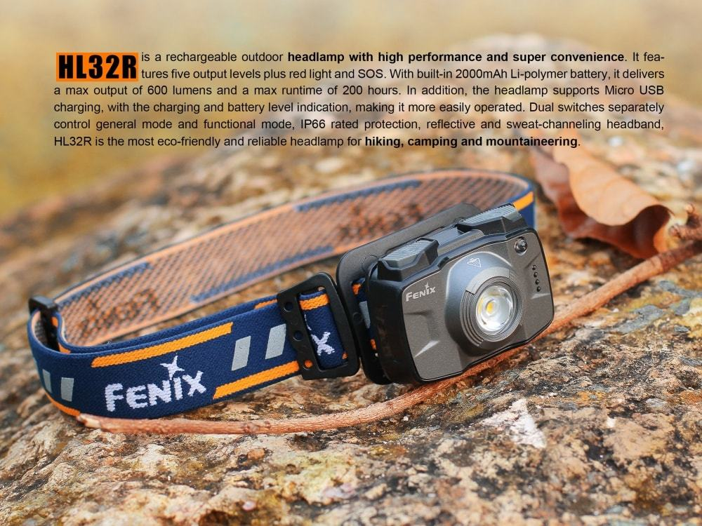 Fenix HL32R Rechargeable LED Headlamp | 600 Lumens | USB Rechargeable | LightWeight, Powerful and Compact Headlamp