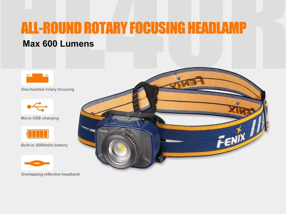 Fenix HL40R Rechargeable Focusable Zoom LED Headlamp | 600 Lumens | USB Rechargeable | Headlamp for Outdoor, Hiking, Camping