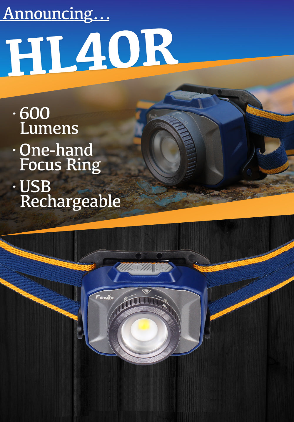 Fenix HL40R, Rechargeable Headlamp | 600 Lumen LED Head Torch | Focus Adjustable Headlamp | Zoomable Headlamp | Compact and Portable