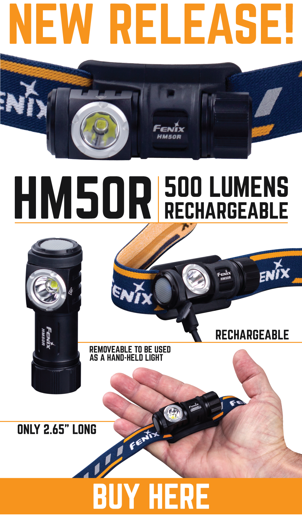 Fenix HM50R, Fenix LED Rechargeable Headlamp, 500 Lumen Headlamp, Buy Headlamp torch online in India