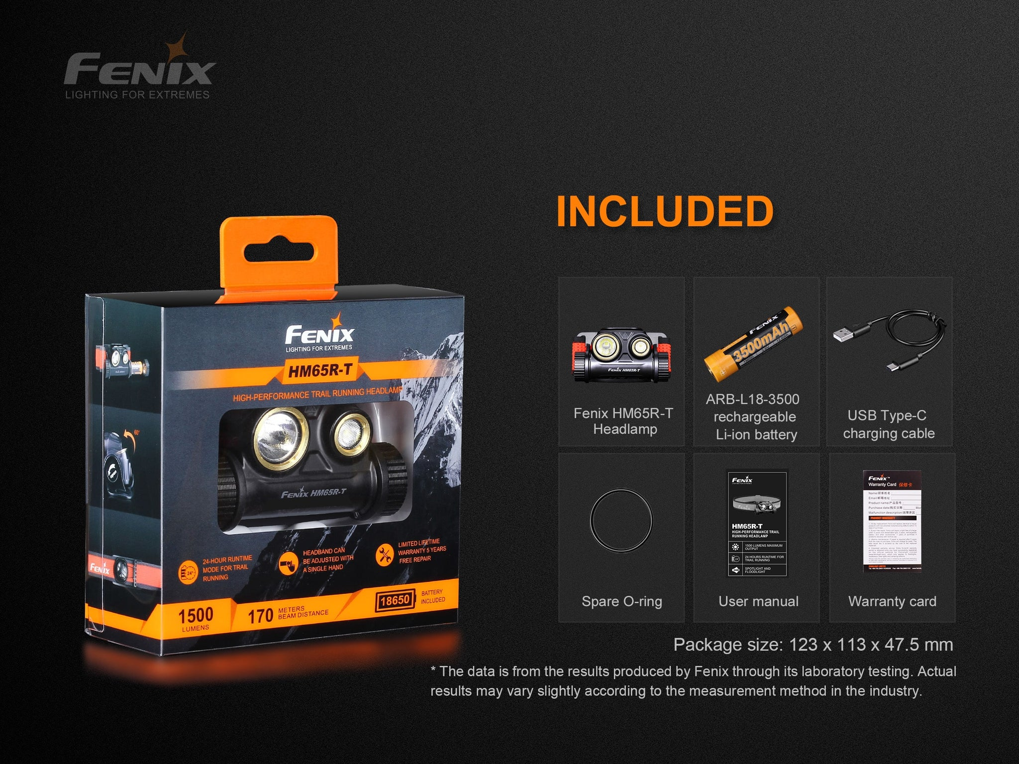 Fenix HM65R T LED Rechargeable Headlamp, Perfect outdoor 1500 Lumens Powerful Lightweight Head Torch for Outdoors, Running, Trails with Spot and Flood Light