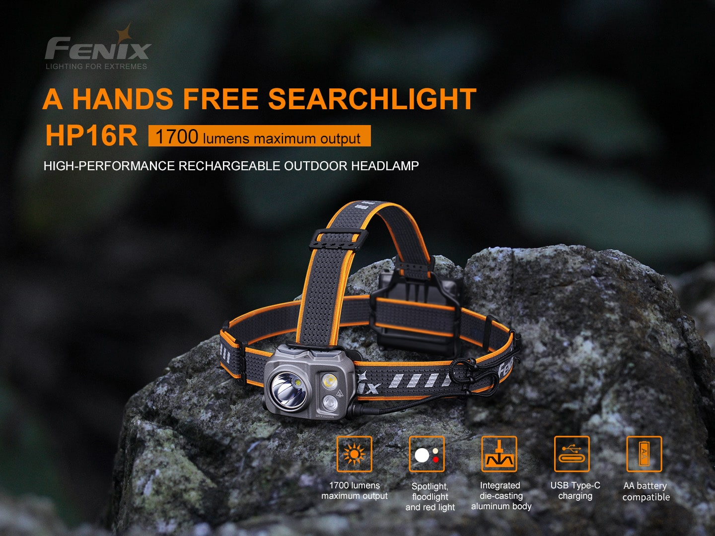 Fenix HP16R LED Headlamp in India, Best Compact Rechargeable Headlamp Torch 1700 Lumens, Powerful Outdoors Headlamp, Head Torch perfect for Outdoors, Hiking & Trekking, Work Professional, Mining, mountaineering EDC Headlamp