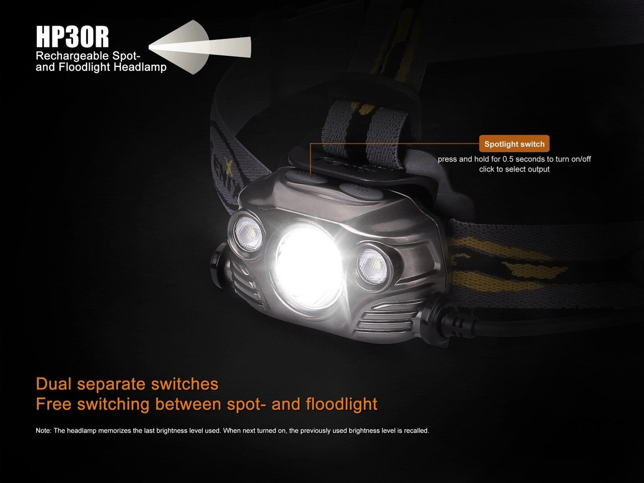 Fenix HP30R USB Rechargeable Headlamp, Uses 2 x 18650s or 4 x CR123A
