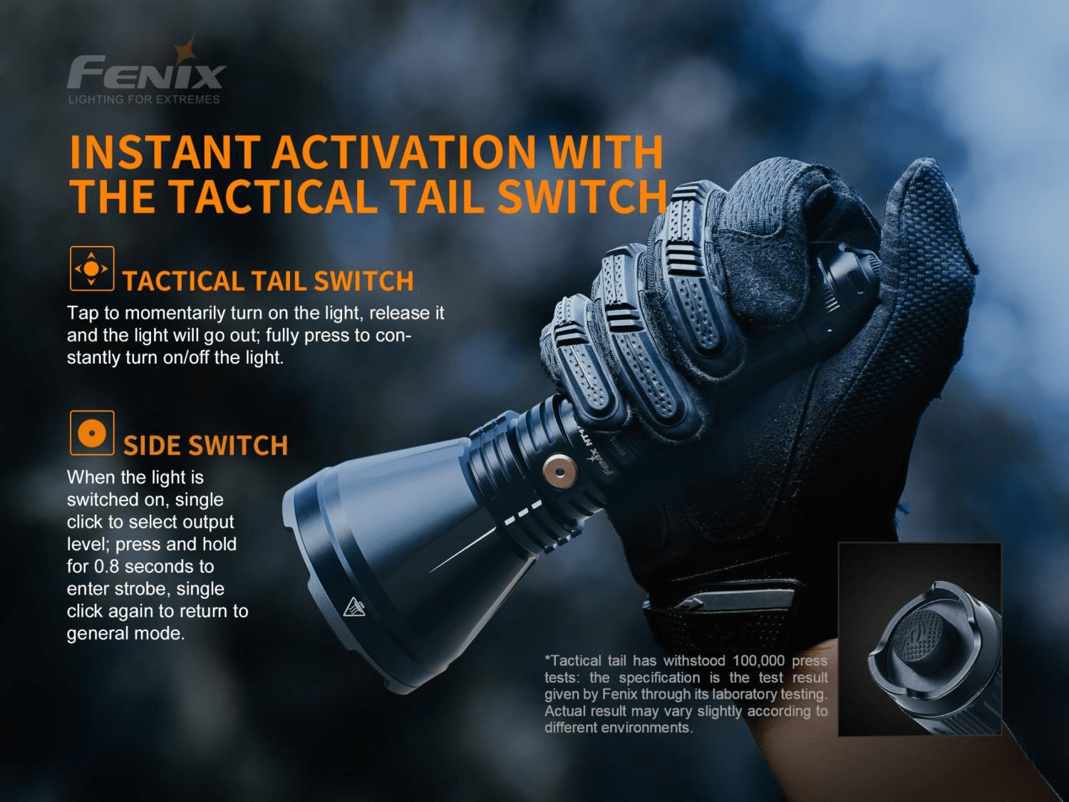 Fenix HT18 LED SpotLight In India, 1km Long Range Powerful Torch, Spot Light Rechargeable Searchlight for Outdoors, Hunting Treks, Policing, Red and Green Filters Light