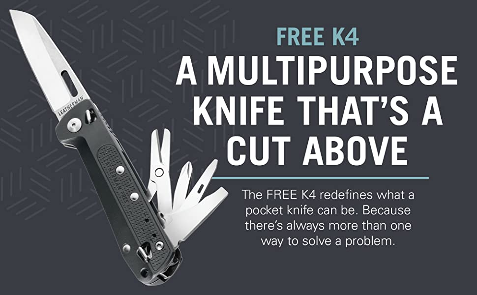 Leatherman FREE Series, Leatherman K4 Pocket Outdoor Knife & Multi Tool, EDC Compact Foldable Knife by Leatherman, 420HC Straight Blade, Pry Tool, Awl, phillips screwdriver, Spring-action Scissors, Buy Leatherman Tools Online in India at LightMen