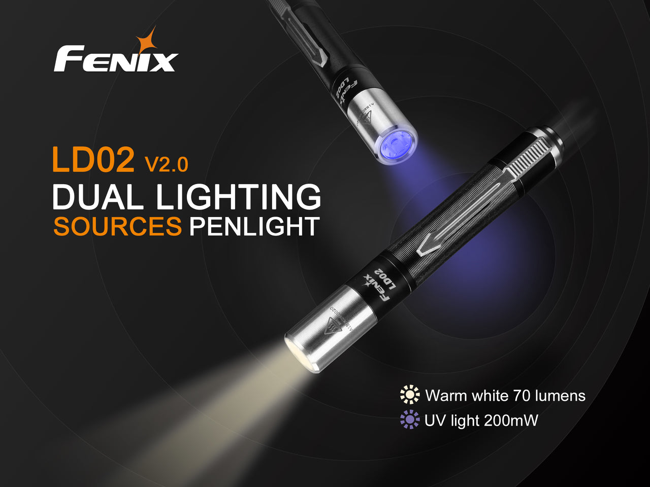 Fenix LD02 V2.0 LED Pen Light in India, 70 Lumens Pen Size Torch in India, Lights for Doctors, Dentist, Warm Light with UV Light, Compact Pocket Size Torch