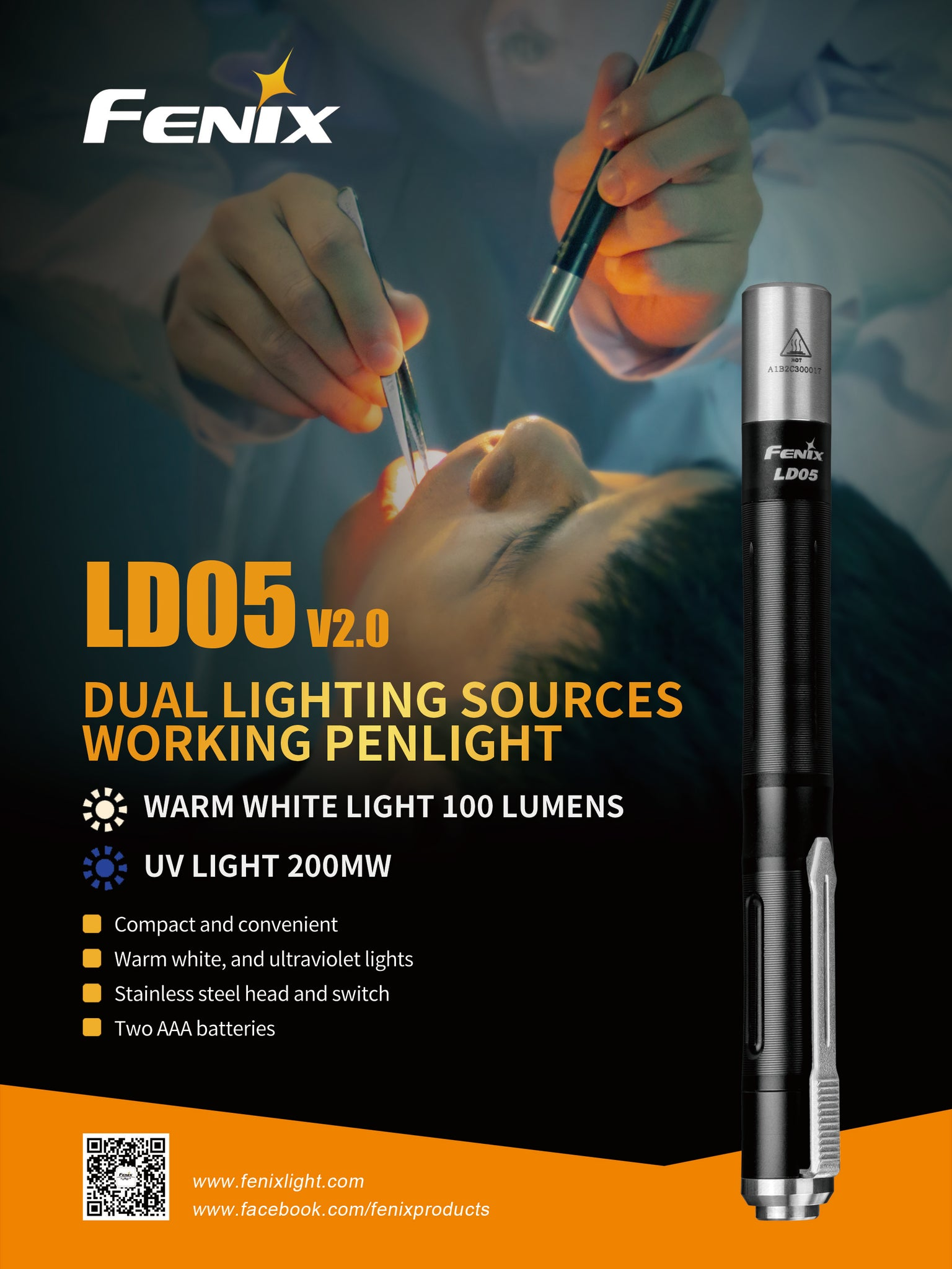 Fenix Ld05 LED Torch, Mini Portable Pen Light LED Flashlight Pocket Medical Doctor Torch Light