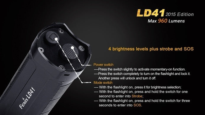 Fenix LD41 2015 LED Flashlight, 4*AA Battery Powered, Online in India
