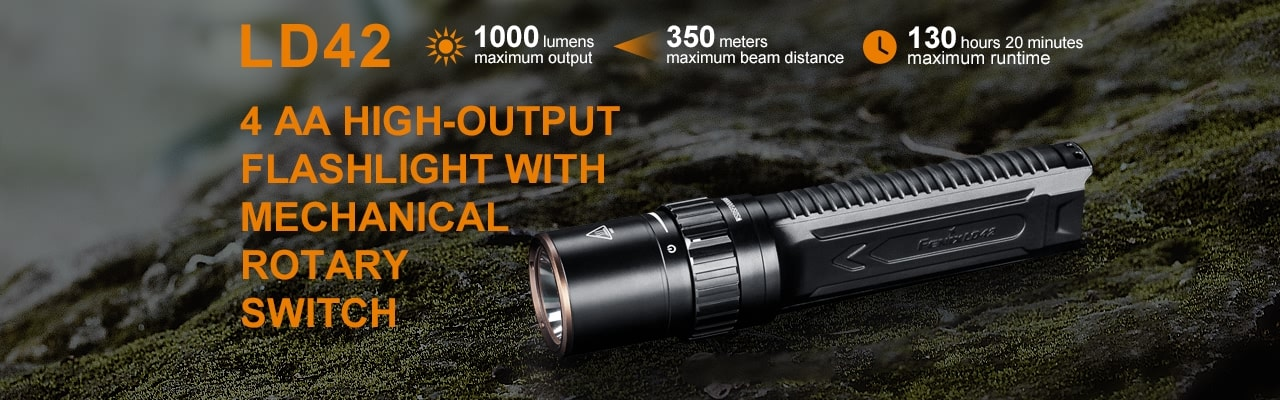 Fenix LD42 LED Flashlights in India, AA Battery Torch in India, Upgrade of Fenix LD41, Powerful Durable Compact Torch for Outdoors Work and EDC