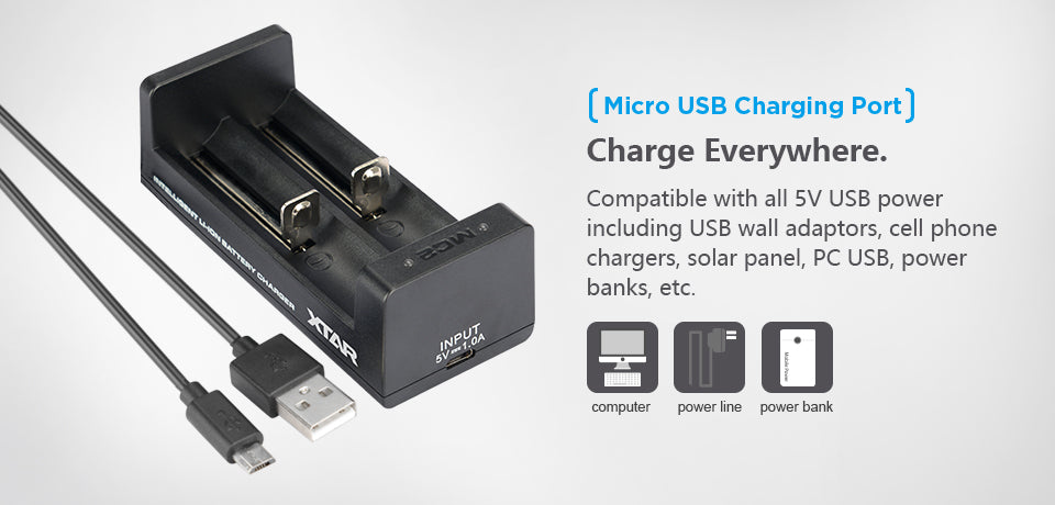 XTAR MC2 2-bay USB Portable Li-ion Battery Charger