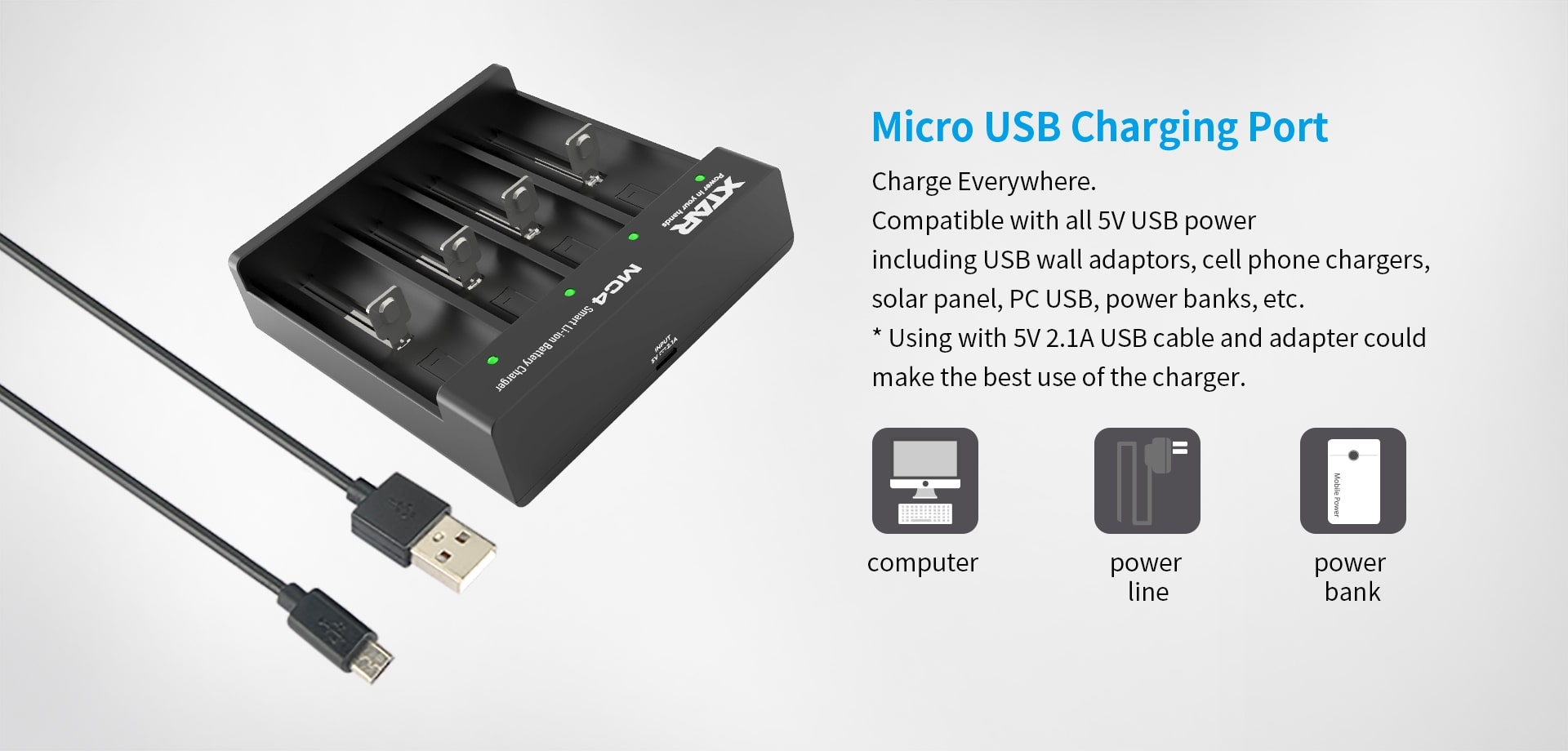Xtar MC4 Rechargeable Li-ion Battery Charger