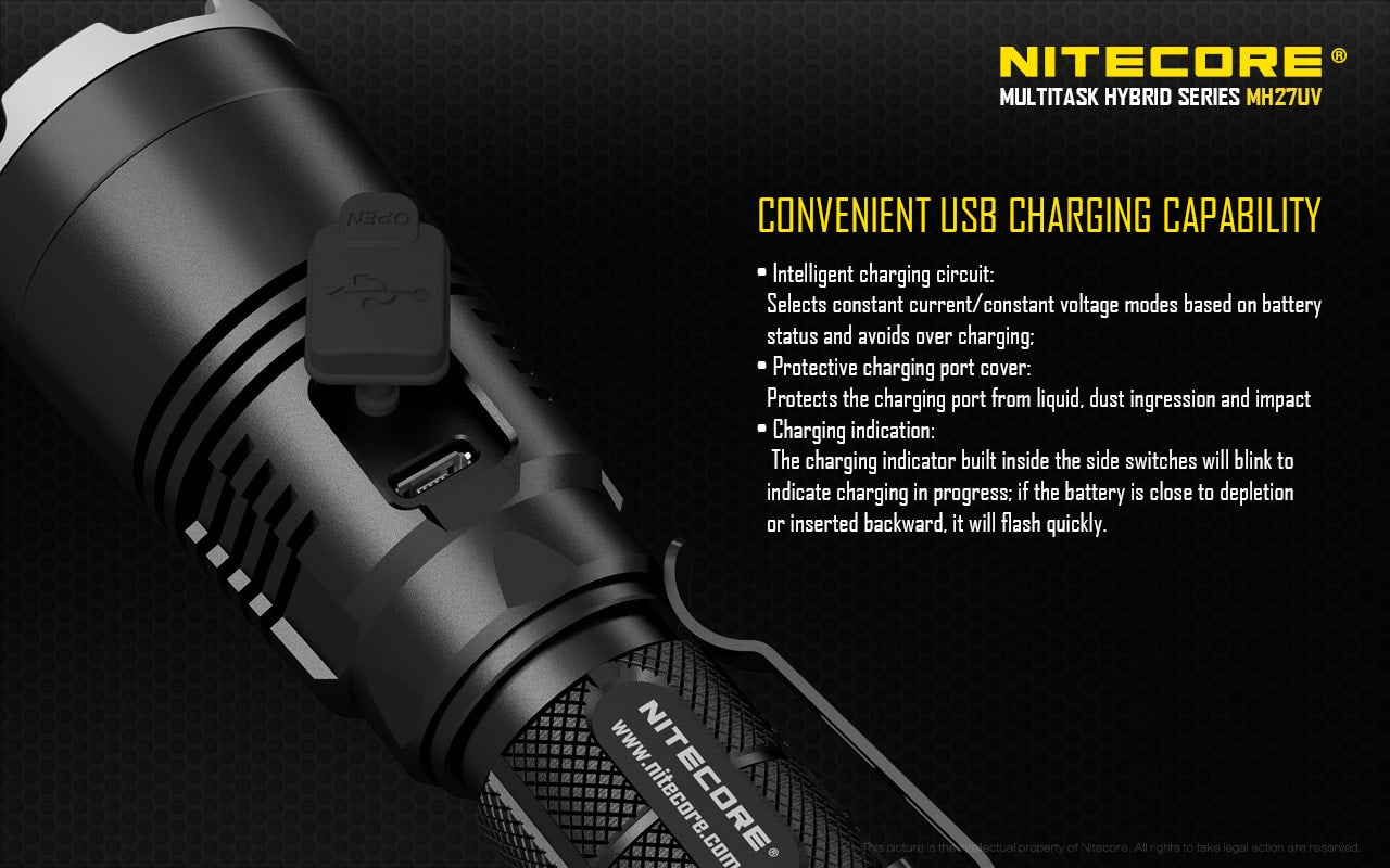 Nitecore MH27UV LED Flashlight, Powerful Tactical LED Torch, 1000 Lumens with Ultra Violet, White, Red and Blue LEDs, USB Rechargeable Flashlight, Signalling Far reaching Flashlight