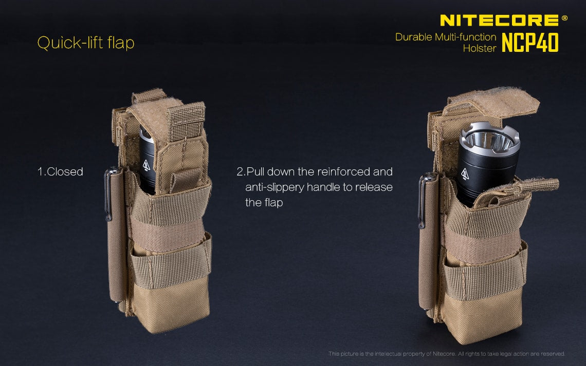 Nitecore NCP40 Tactical Holster, Tough Holster Pouch for Flashlight Torches and Multi Tool, All Weather Holster for your work Belt