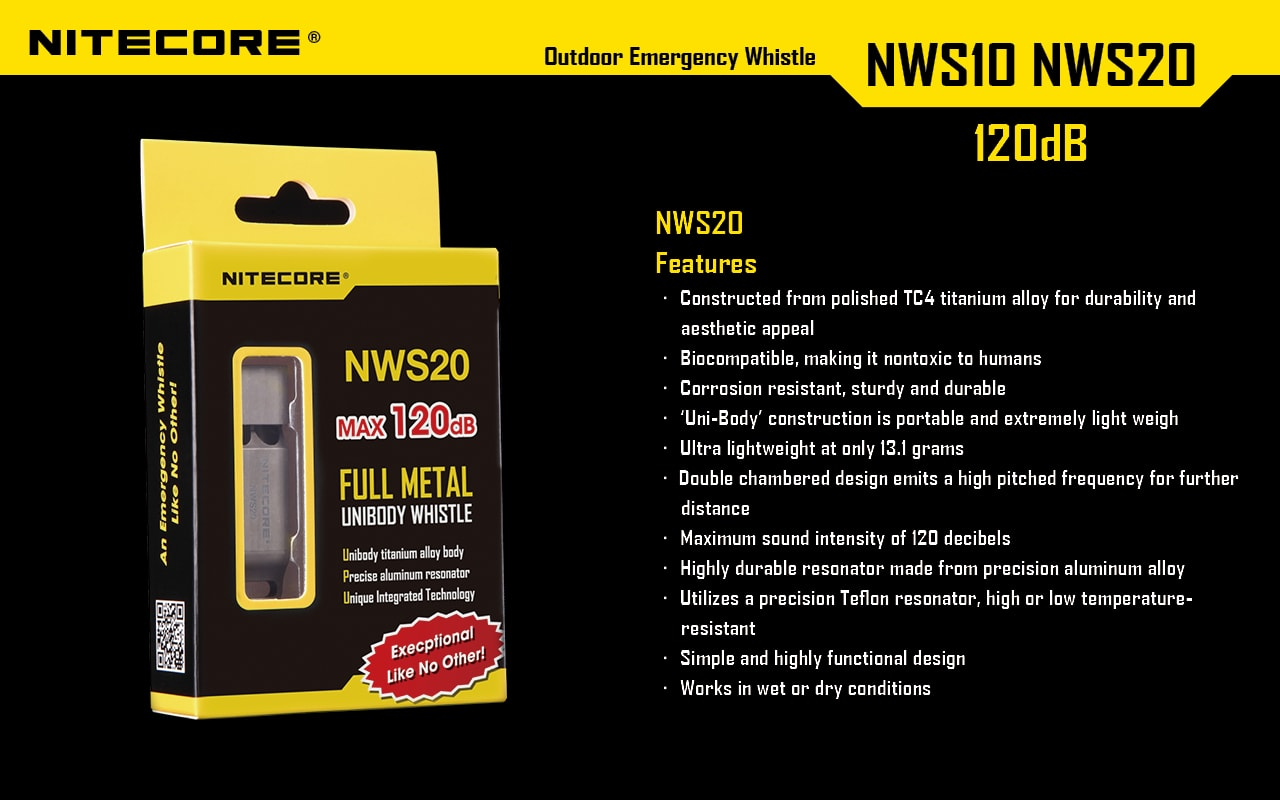 Nitecore NWS20, Titanium Whistle, Emergency Outdoor Whistle, Survival Loudest Whistle 120 Decibels, Designed for Sporting events, policing, law enforcement use