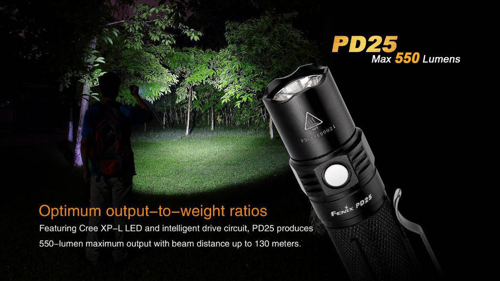 Fenix PD25 LED Flashlight (1*16340/1*CR123A) FREE BATTERY!
