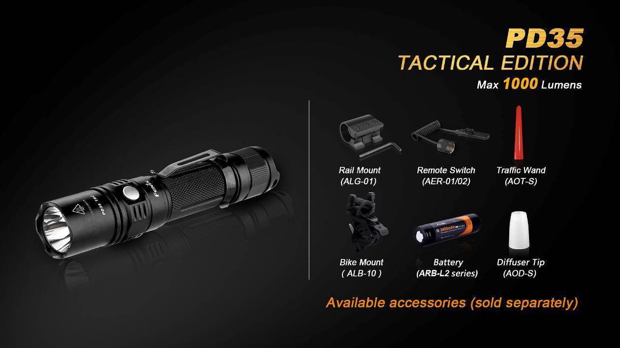 Fenix PD35 TAC 1000Lumen Tatical Flashlight / LED Torch