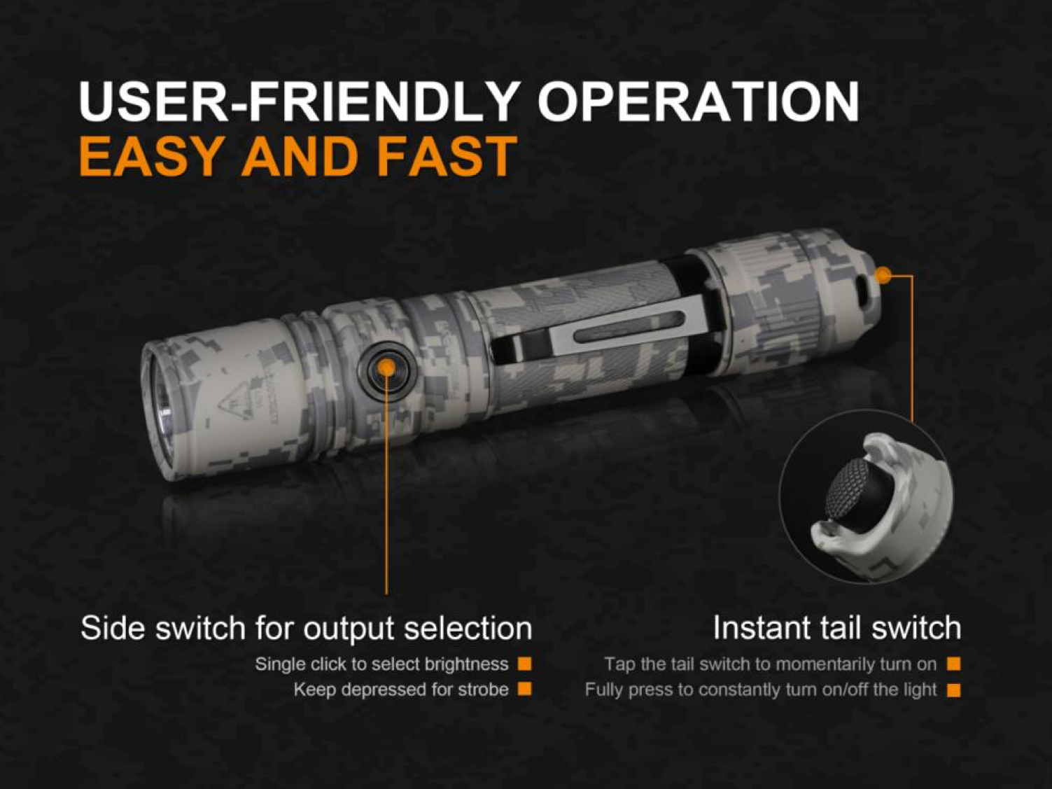 Fenix PD35 V2.0 Tactical LED Flashlight, PD35 Came Edition, High Performance Work Everyday Carry Outdoor LED Torch, 1000 Lumens Flashlight