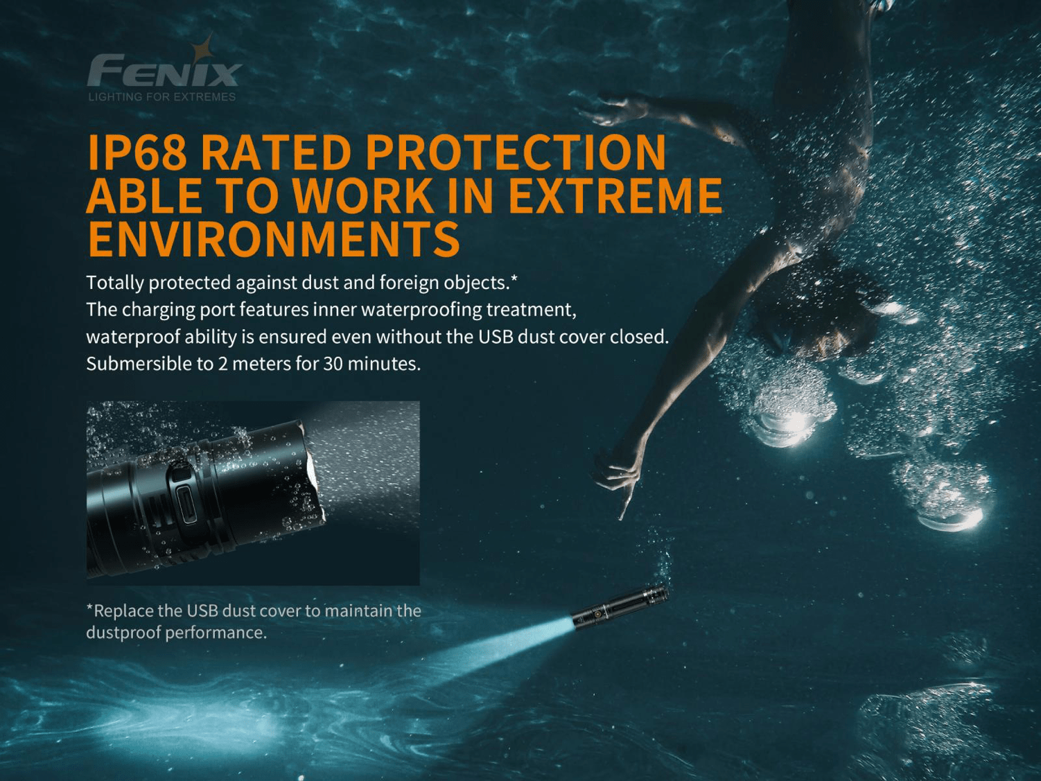 Fenix PD36R LED Flashlight, USB C Type Rechargeable Long Duration LED Torch, Extremely Powerful Tactical Flashlight in India