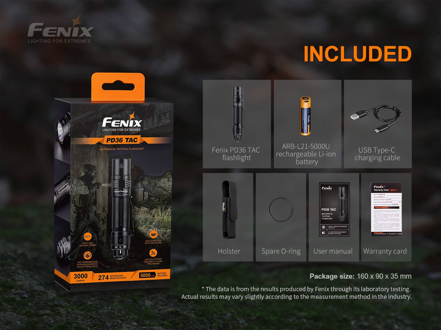 Fenix PD36 TAC LED Torch in India, 3000 Lumens Tactical Duty Flashlight, Tough Outdoor Work Light, Powerful Torch