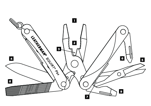 Leatherman Squirt PS4, Compact Keychain Mutil-tools in India, ECD Tools