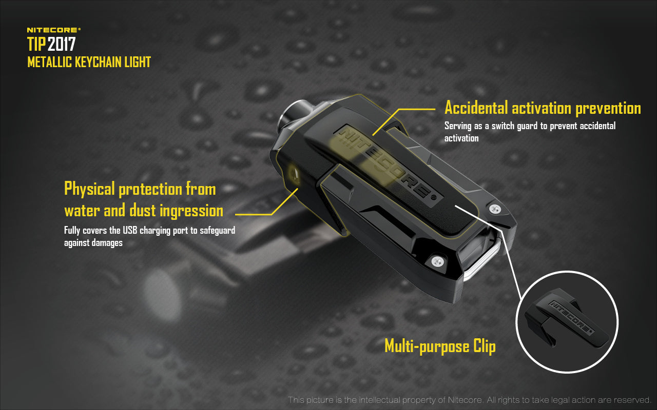 Nitecore TIP 2017, USB Rechargeable key chain Flashlight, Compact Handy LED Torch, Small but powerful Flashlight, Key Light