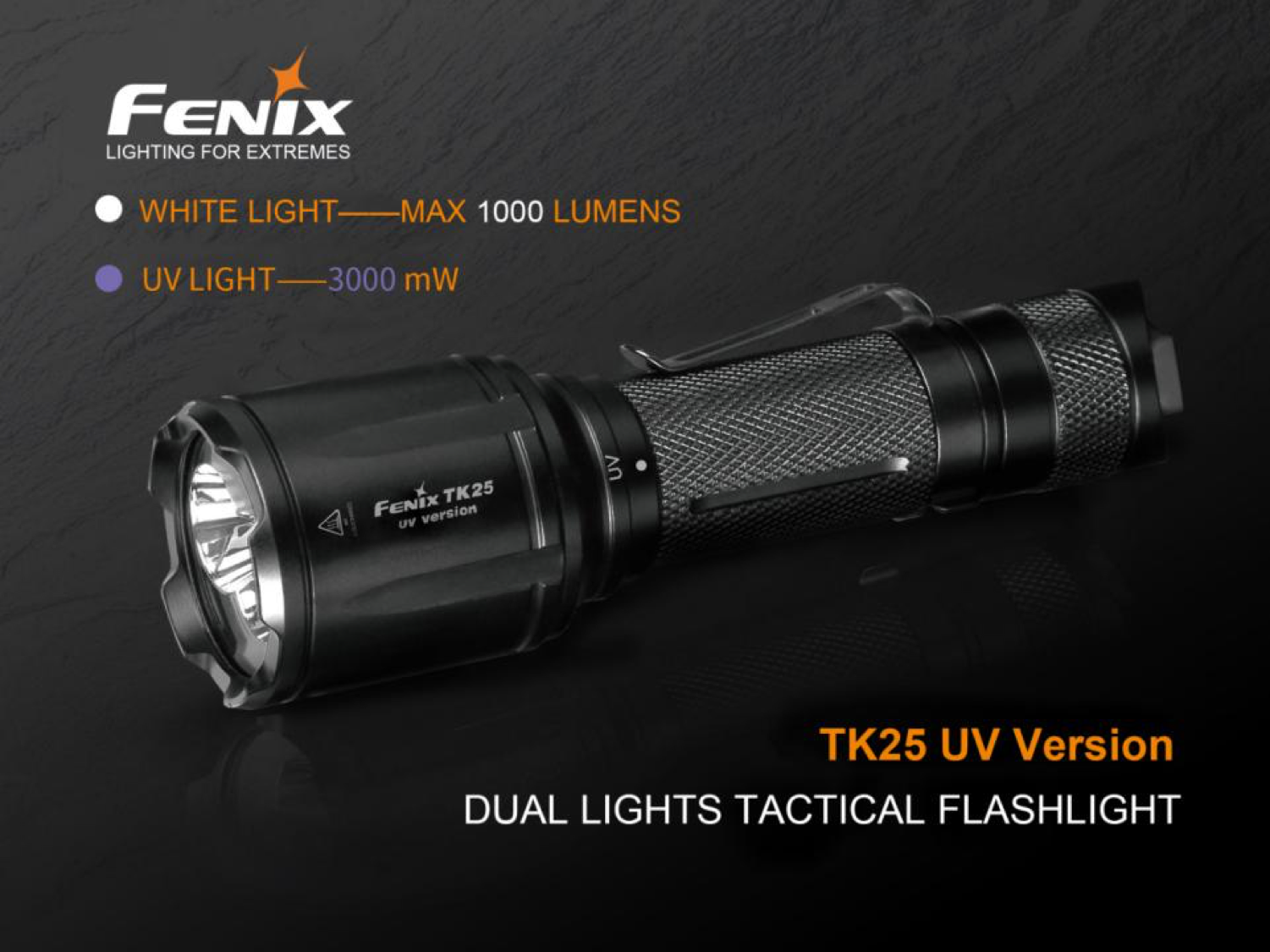 Fenix TK25UV LED Flashlight, UV Torch in India, White + Ultra Violet LEDs, Specially designed for Law enforcement policing department, One switch operation tactical LED Flashlight in India, Powerful LED Torch