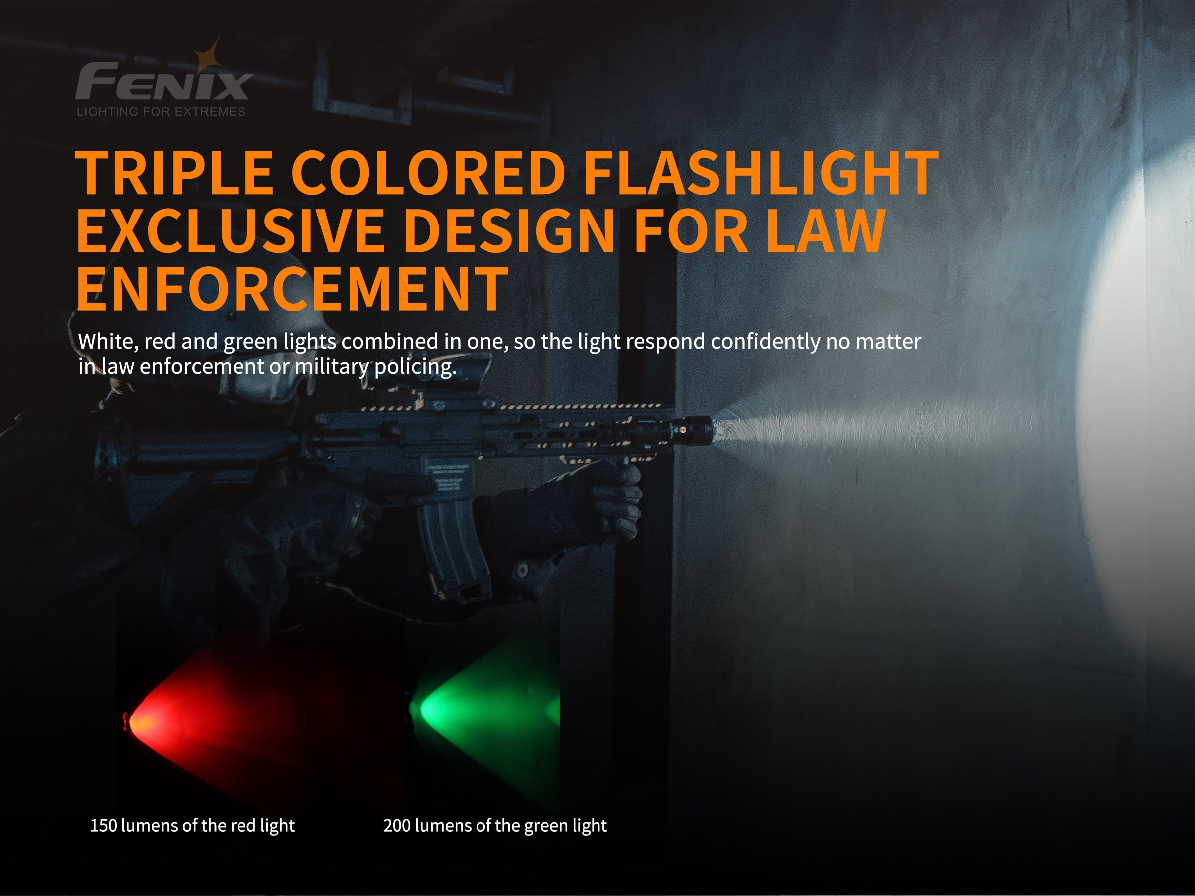 Fenix TK26R LED torch Light in India, Fenix TK26R Rechargeable Powerful Light with 3 LEDs, Tri-Color Torch White Red & Green, Long Range Flashlight for Outdoors, Jungles Hunting Treks
