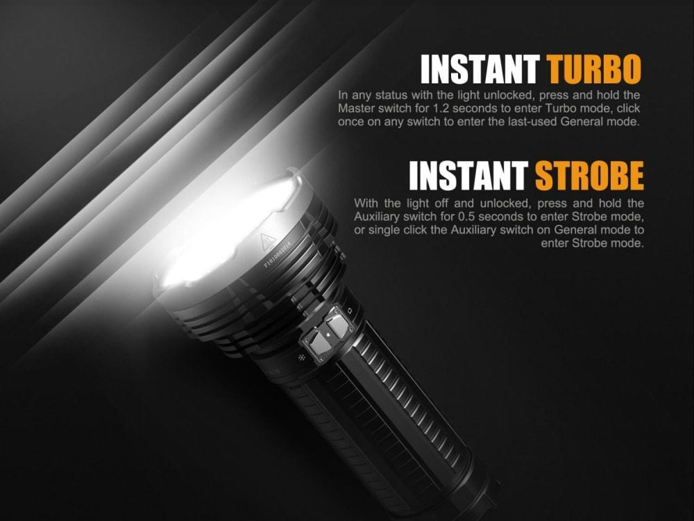 Fenix TK75 Rechargeable LED Searchlight in India, USB Rechargeable Flashlight, Extremely Powerful, Long reach Searchlight with 850m